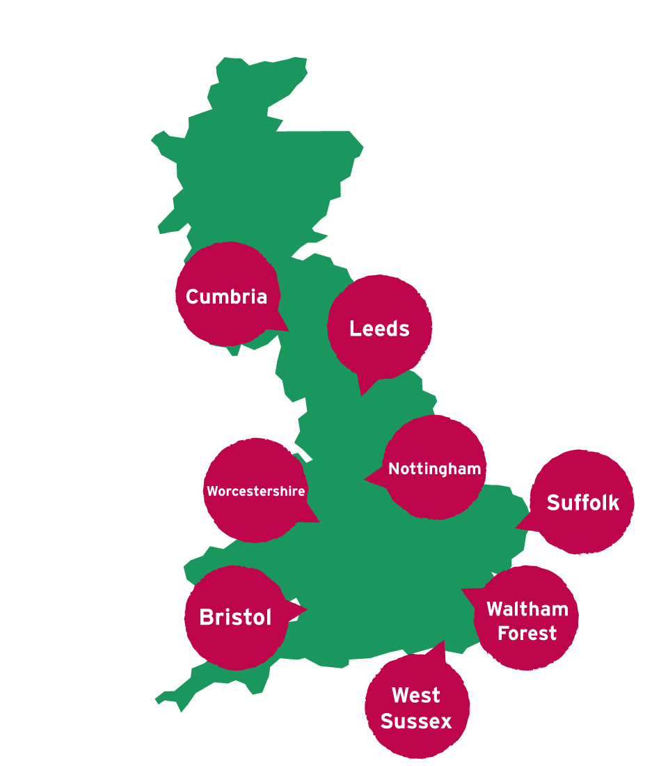 Map showing the locations of Tine to Change Hubs in England