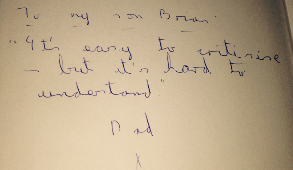 A picture of Brian's father's message