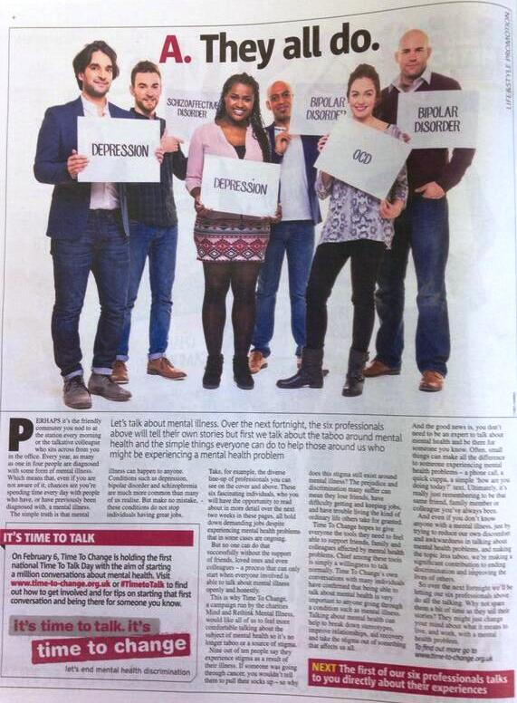 Time to Change campaign in the Metro UK Newspaper