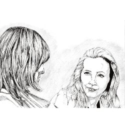 Pencil sketch of 2 women talking