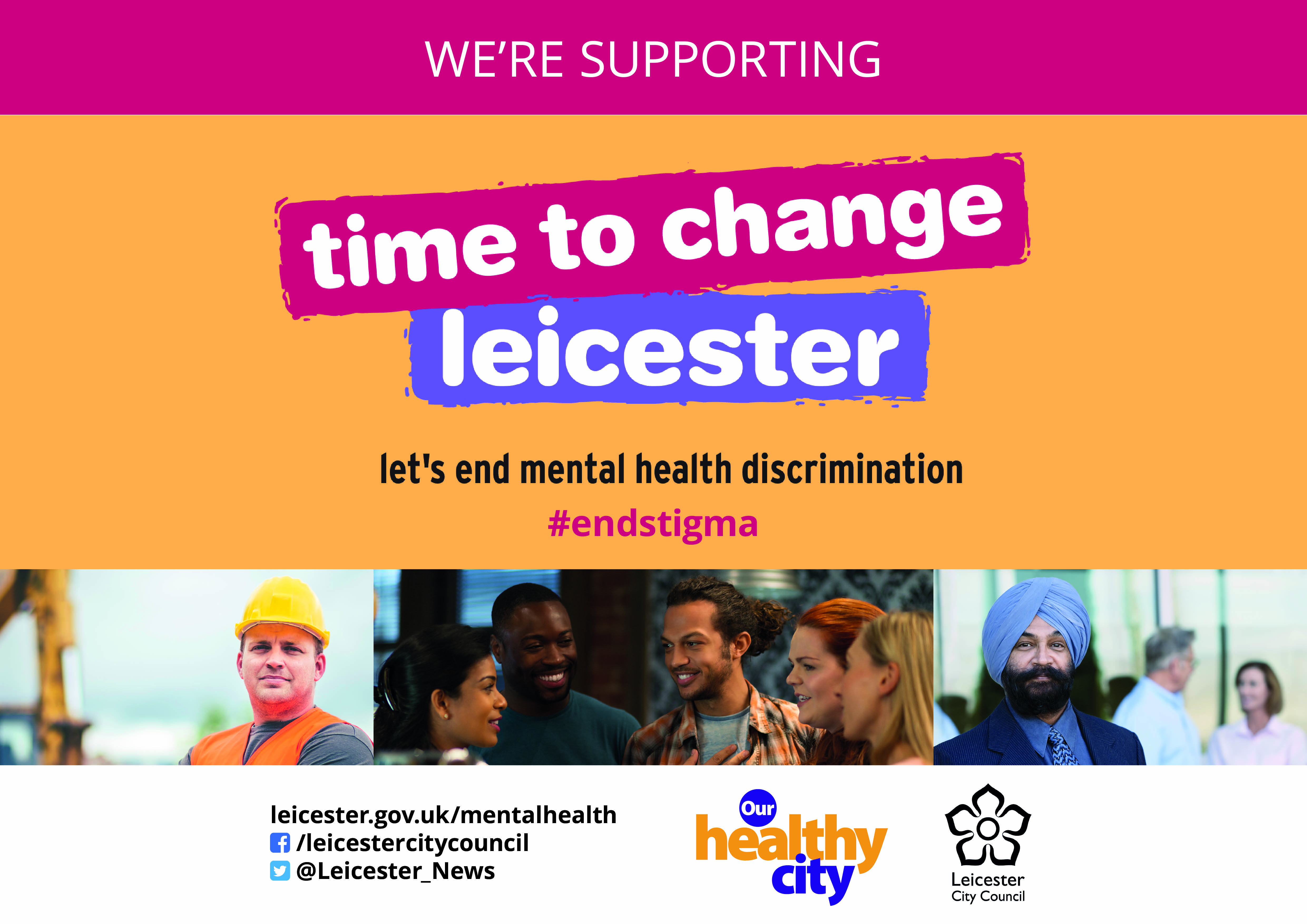 Campaign poster for Time to Change Leicester