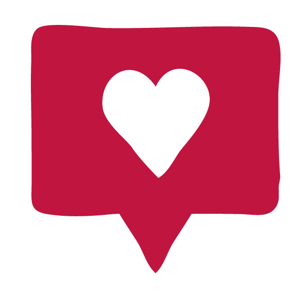 Icon with a heart to represent a 'like' on social media