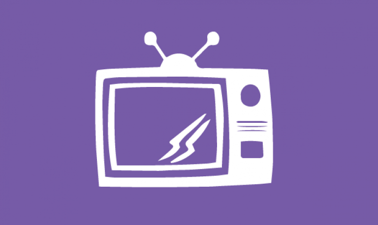 an icon of a television set on a purple background