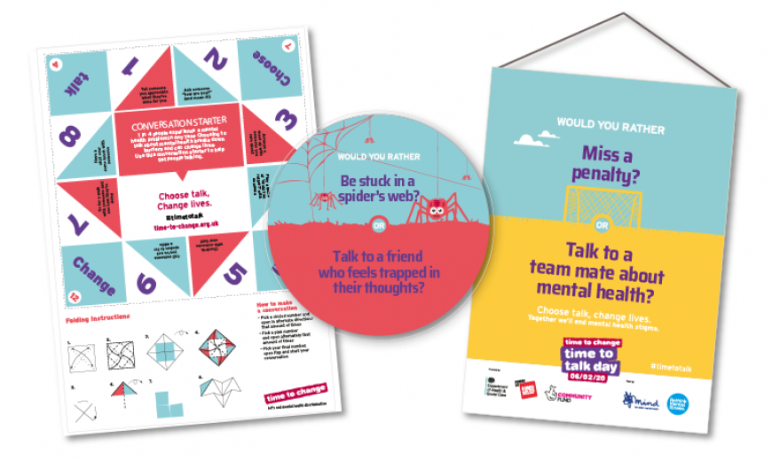 Time to Talk Day materials - posters, coasters and conversation starter